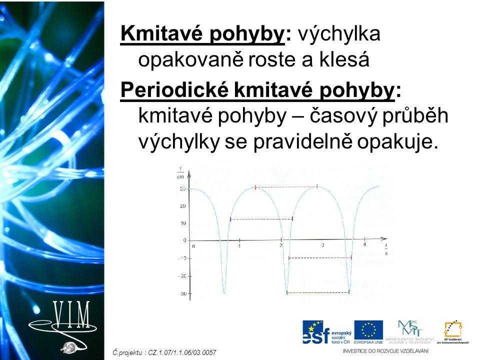 Č.projektu : CZ.1.07/1.1.06/03.0057 Kmitavé pohyby: výchylka opakovaně roste a klesá Periodické kmitavé pohyby: kmitavé pohyby – časový průběh výchylky se pravidelně opakuje.