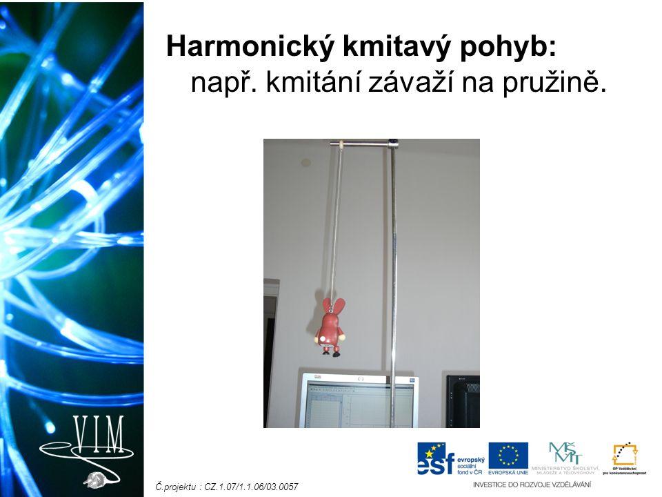 Č.projektu : CZ.1.07/1.1.06/03.0057 Harmonický kmitavý pohyb: např. kmitání závaží na pružině.