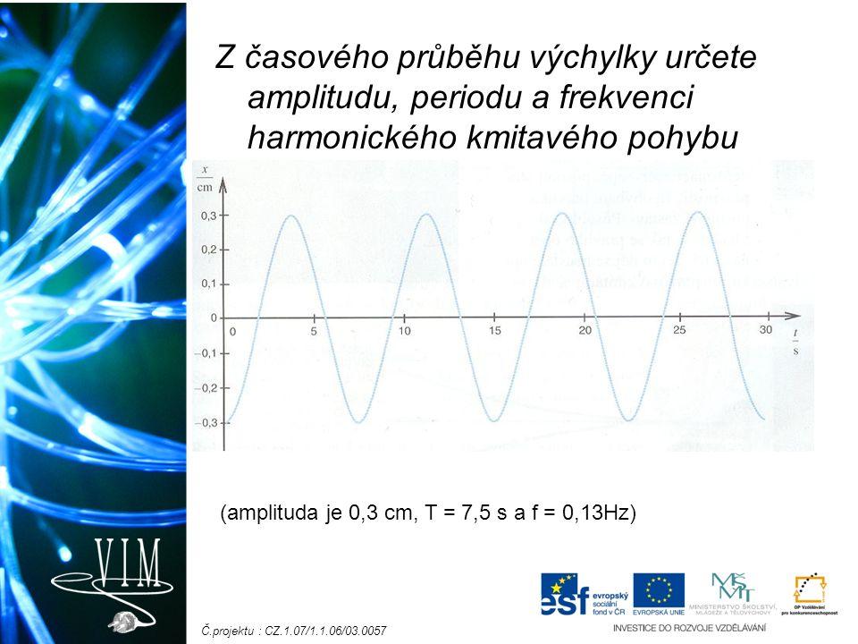 Č.projektu : CZ.1.07/1.1.06/03.0057 Z časového průběhu výchylky určete amplitudu, periodu a frekvenci harmonického kmitavého pohybu (amplituda je 0,3 cm, T = 7,5 s a f = 0,13Hz)