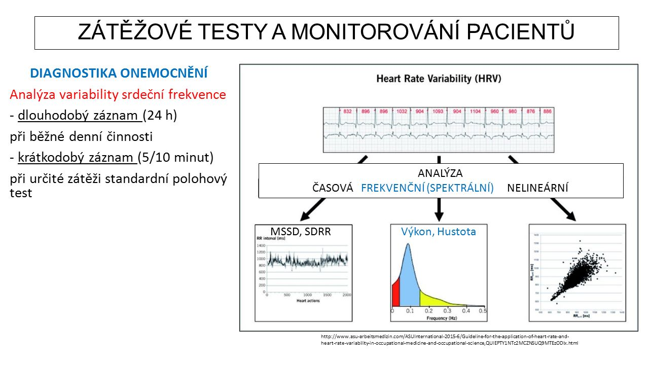 DIAGNOSTIKA ONEMOCNĚNÍ Analýza variability srdeční frekvence - dlouhodobý záznam (24 h) při běžné denní činnosti - krátkodobý záznam (5/10 minut) při určité zátěži standardní polohový test http://www.asu-arbeitsmedizin.com/ASUInternational-2015-6/Guideline-for-the-application-of-heart-rate-and- heart-rate-variability-in-occupational-medicine-and-occupational-science,QUlEPTY1NTc2MCZNSUQ9MTEzODIx.html ANALÝZA ČASOVÁFREKVENČNÍ (SPEKTRÁLNÍ)NELINEÁRNÍ MSSD, SDRRVýkon, Hustota ZÁTĚŽOVÉ TESTY A MONITOROVÁNÍ PACIENTŮ