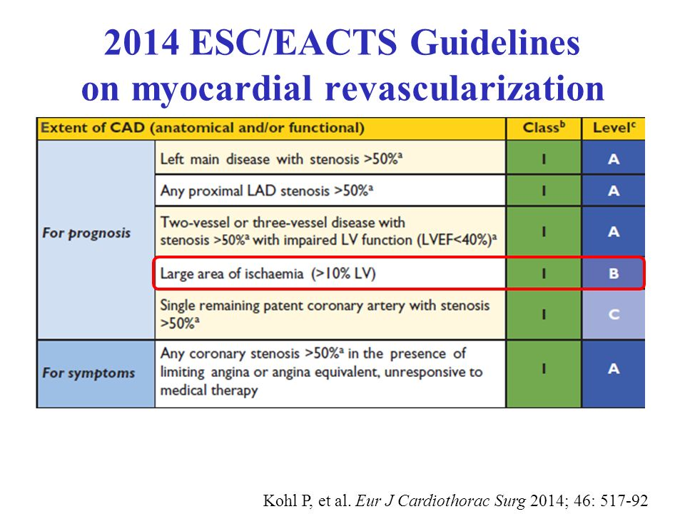2014 ESC/EACTS Guidelines on myocardial revascularization Kohl P, et al.