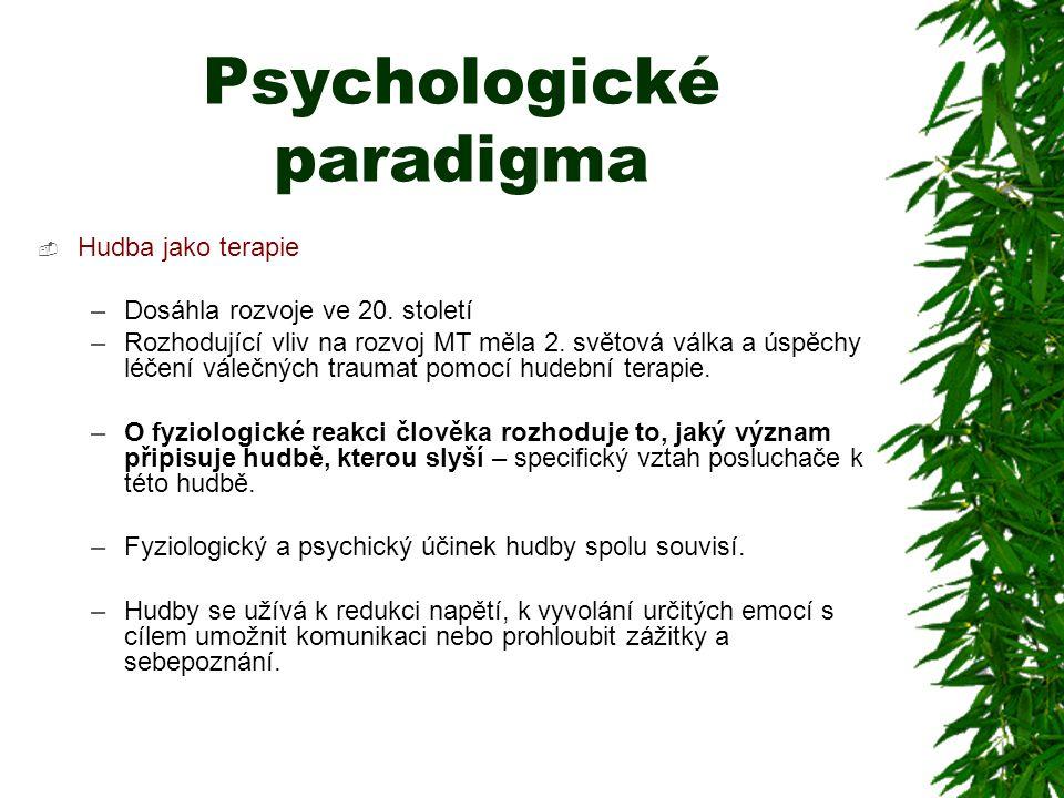 Psychologické paradigma  Hudba jako terapie –Dosáhla rozvoje ve 20. století –Rozhodující vliv na rozvoj MT měla 2. světová válka a úspěchy léčení vál
