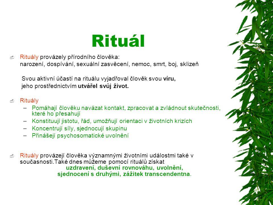 Rituál  Rituály provázely přírodního člověka: narození, dospívání, sexuální zasvěcení, nemoc, smrt, boj, sklizeň Svou aktivní účastí na rituálu vyjad