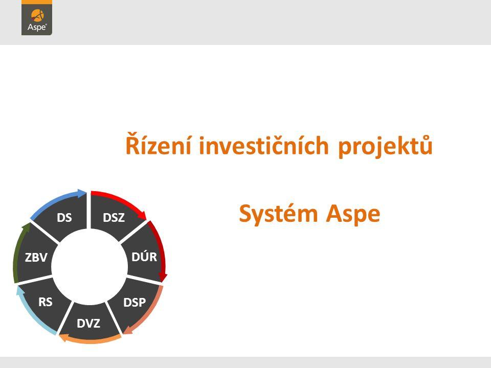 Řízení investičních projektů DSZ DÚR DS ZBV RS DVZ DSP Systém Aspe