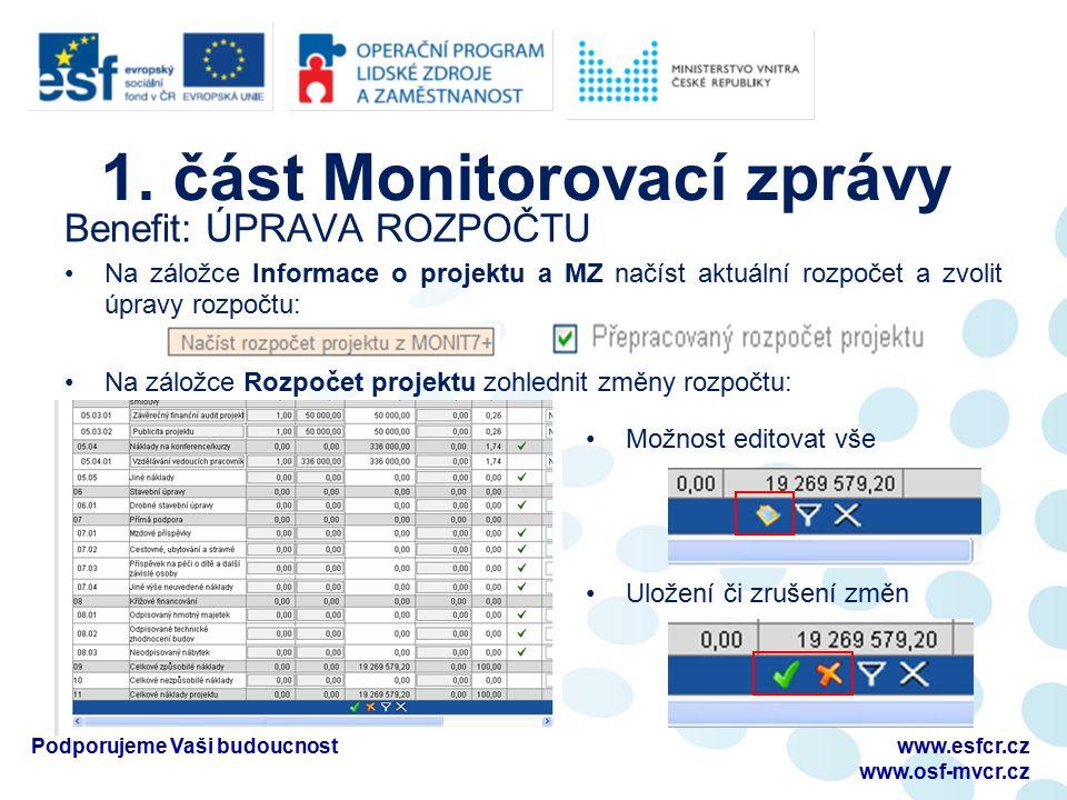 1. část Monitorovací zprávy Benefit: ÚPRAVA ROZPOČTU Na záložce Informace o projektu a MZ načíst aktuální rozpočet a zvolit úpravy rozpočtu: Na záložc