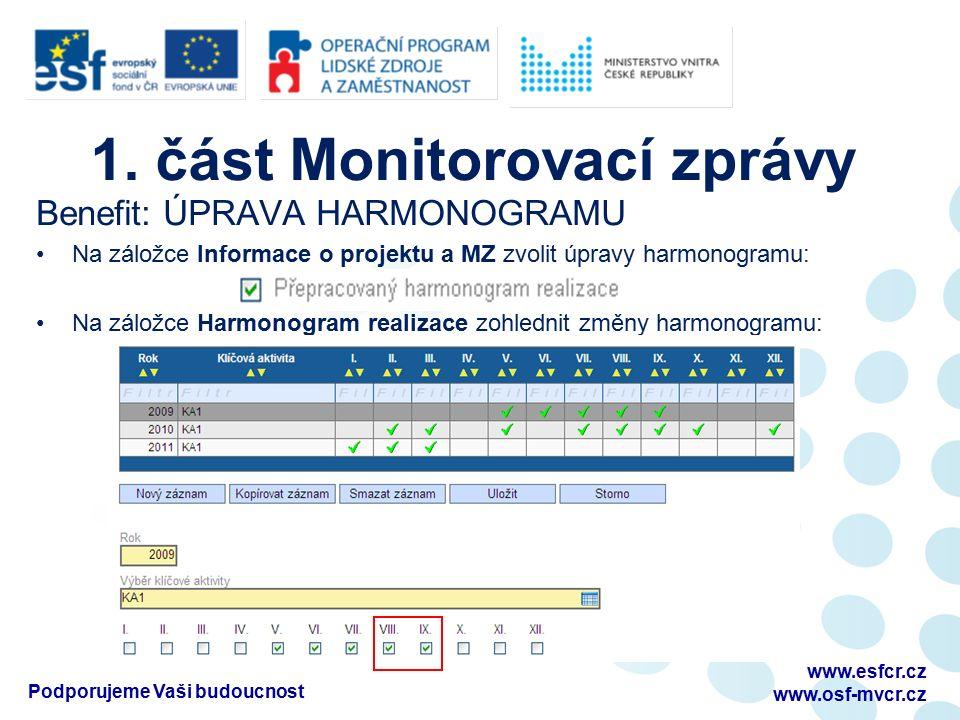 1. část Monitorovací zprávy Benefit: ÚPRAVA HARMONOGRAMU Na záložce Informace o projektu a MZ zvolit úpravy harmonogramu: Na záložce Harmonogram reali