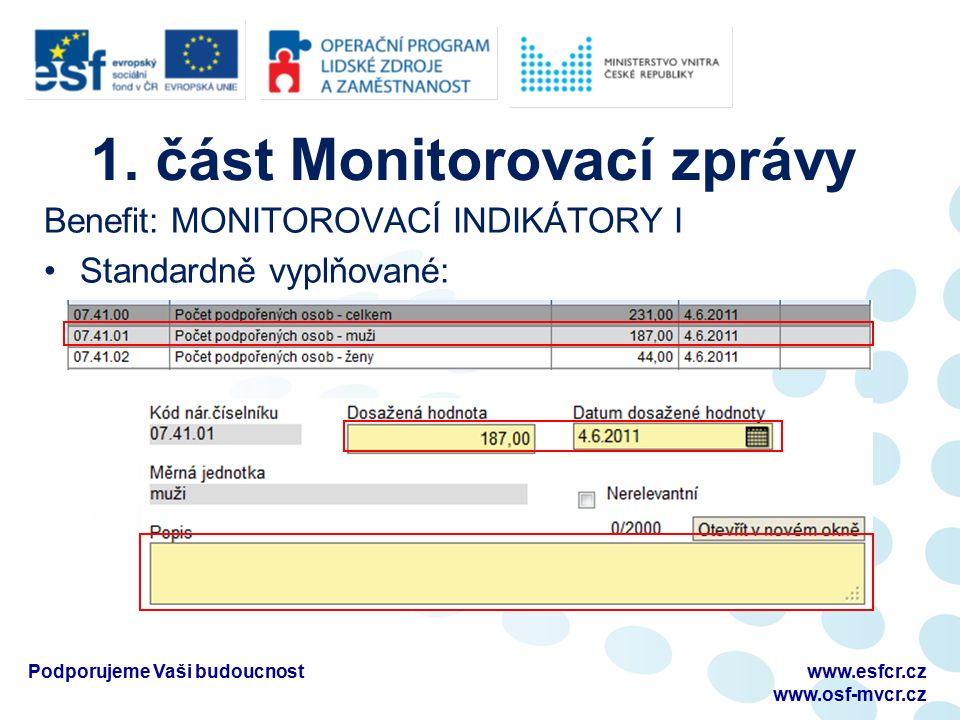1. část Monitorovací zprávy Benefit: MONITOROVACÍ INDIKÁTORY I Standardně vyplňované: Podporujeme Vaši budoucnostwww.esfcr.cz www.osf-mvcr.cz