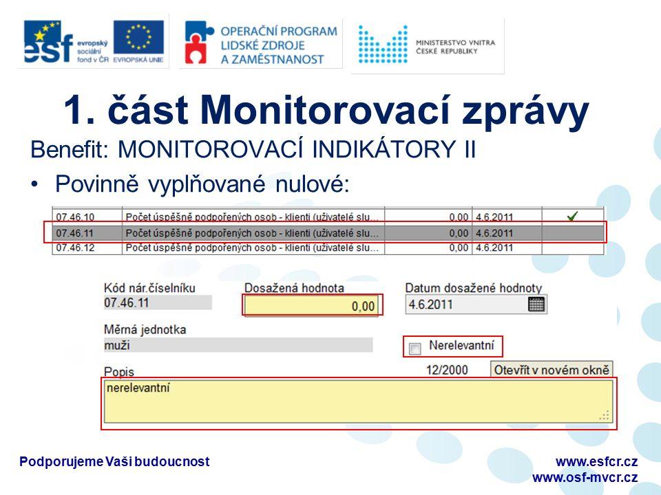 1. část Monitorovací zprávy Benefit: MONITOROVACÍ INDIKÁTORY II Povinně vyplňované nulové: Podporujeme Vaši budoucnostwww.esfcr.cz www.osf-mvcr.cz