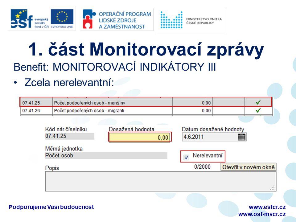 1. část Monitorovací zprávy Benefit: MONITOROVACÍ INDIKÁTORY III Zcela nerelevantní: Podporujeme Vaši budoucnostwww.esfcr.cz www.osf-mvcr.cz