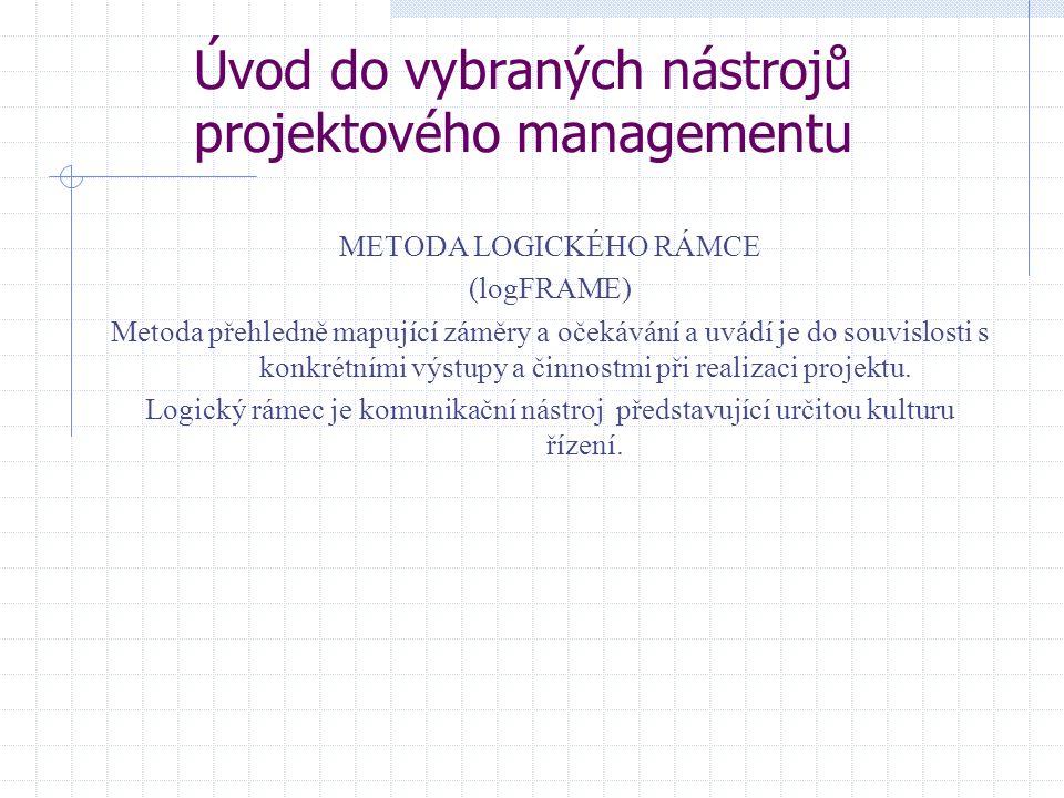 Úvod do vybraných nástrojů projektového managementu METODA LOGICKÉHO RÁMCE (logFRAME) Metoda přehledně mapující záměry a očekávání a uvádí je do souvi