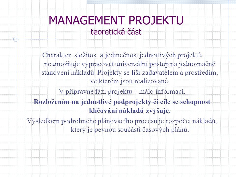 MANAGEMENT PROJEKTU teoretická část Charakter, složitost a jedinečnost jednotlivých projektů neumožňuje vypracovat univerzální postup na jednoznačné s