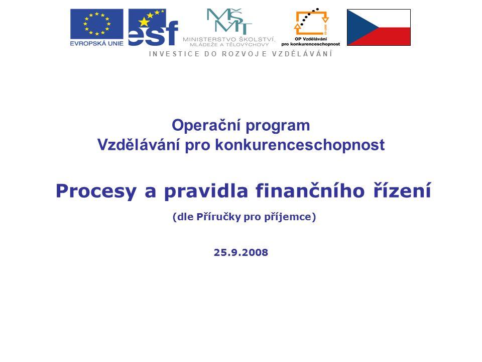 I N V E S T I C E D O R O Z V O J E V Z D Ě L Á V Á N Í Samostatný účet projektu -nutno zřídit před podpisem smlouvy -slouží VÝHRADNĚ pro platební operace související s projektem -zajistit si zasílání měsíčních výpisů z BÚ vždy k poslednímu dni každého měsíce nebo ke dni, ke kterému bude vykazováno vyúčtování projektu -nesmí být zrušen před přijetím závěrečné platby -prostředky, které příjemce obdrží formou zálohové nebo průběžné platby a které jsou určeny na realizaci projektu, NESMÍ být použity jiným způsobem než je stanoveno ve smlouvě (tj.