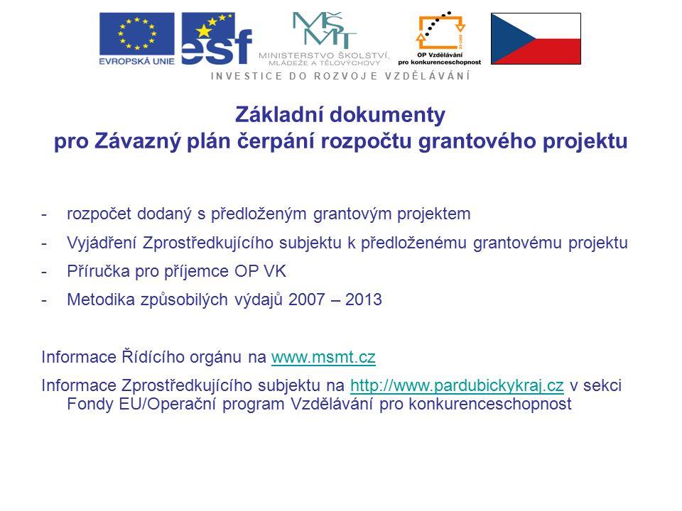 I N V E S T I C E D O R O Z V O J E V Z D Ě L Á V Á N Í Základní dokumenty pro Závazný plán čerpání rozpočtu grantového projektu -rozpočet dodaný s předloženým grantovým projektem -Vyjádření Zprostředkujícího subjektu k předloženému grantovému projektu -Příručka pro příjemce OP VK -Metodika způsobilých výdajů 2007 – 2013 Informace Řídícího orgánu na www.msmt.czwww.msmt.cz Informace Zprostředkujícího subjektu na http://www.pardubickykraj.cz v sekci Fondy EU/Operační program Vzdělávání pro konkurenceschopnosthttp://www.pardubickykraj.cz