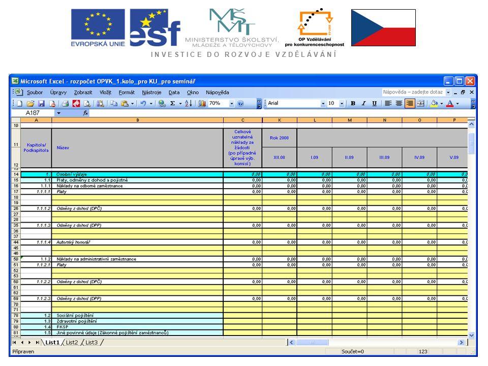 I N V E S T I C E D O R O Z V O J E V Z D Ě L Á V Á N Í -kumulovaná výše uvedených plateb nesmí přesáhnout 90 % schválené částky podpory Závěrečná platba - do 30 pracovních dnů od data schválení závěrečné zprávy poskytovatelem podpory (vypočítaná dle schválených skutečných způsobilých projektů až do výše zbývajících 10 % schváleného rozpočtu projektu) Pokud budou skutečné způsobilé výdaje na konci projektu nižší než odhadované výdaje, budou proplaceny pouze skutečně vynaložené způsobilé výdaje .