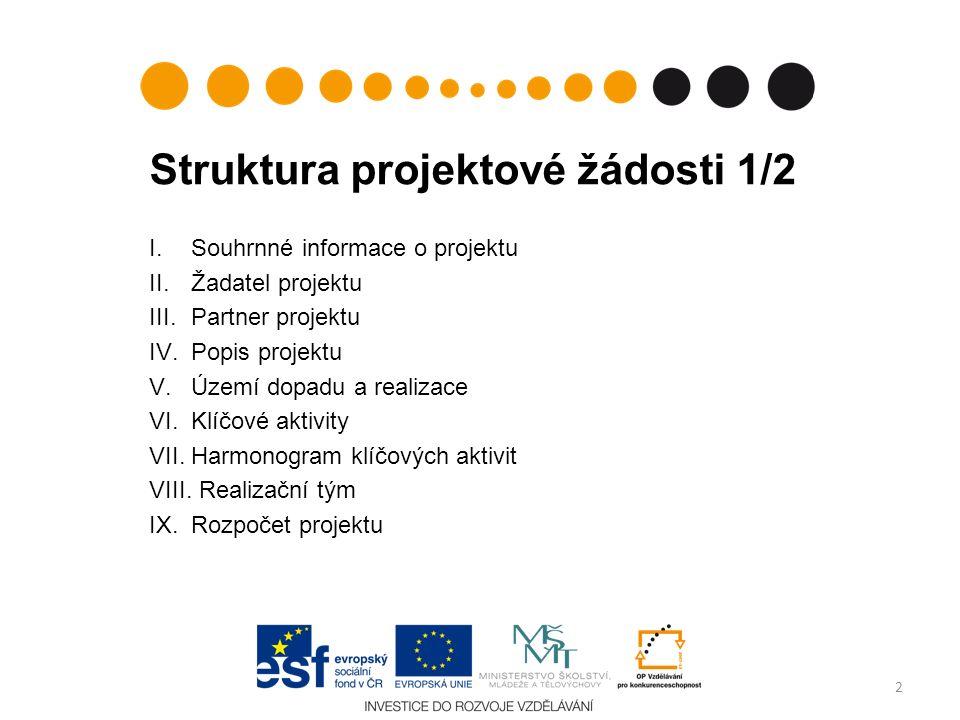 Struktura projektové žádosti 1/2 I.Souhrnné informace o projektu II.Žadatel projektu III.Partner projektu IV.Popis projektu V.Území dopadu a realizace
