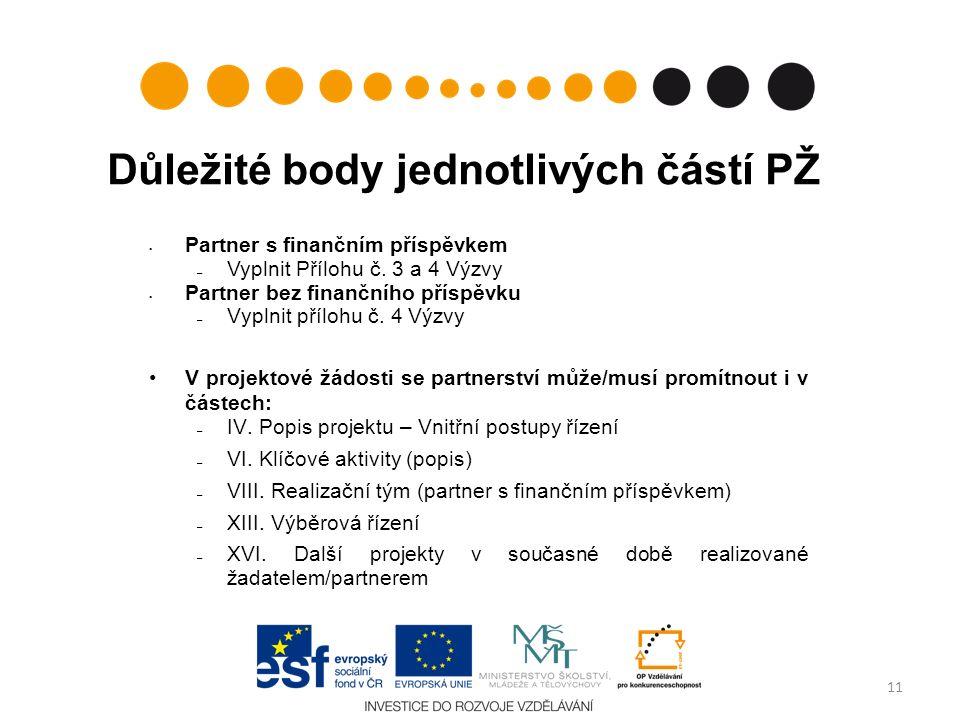 Důležité body jednotlivých částí PŽ Partner s finančním příspěvkem – Vyplnit Přílohu č.