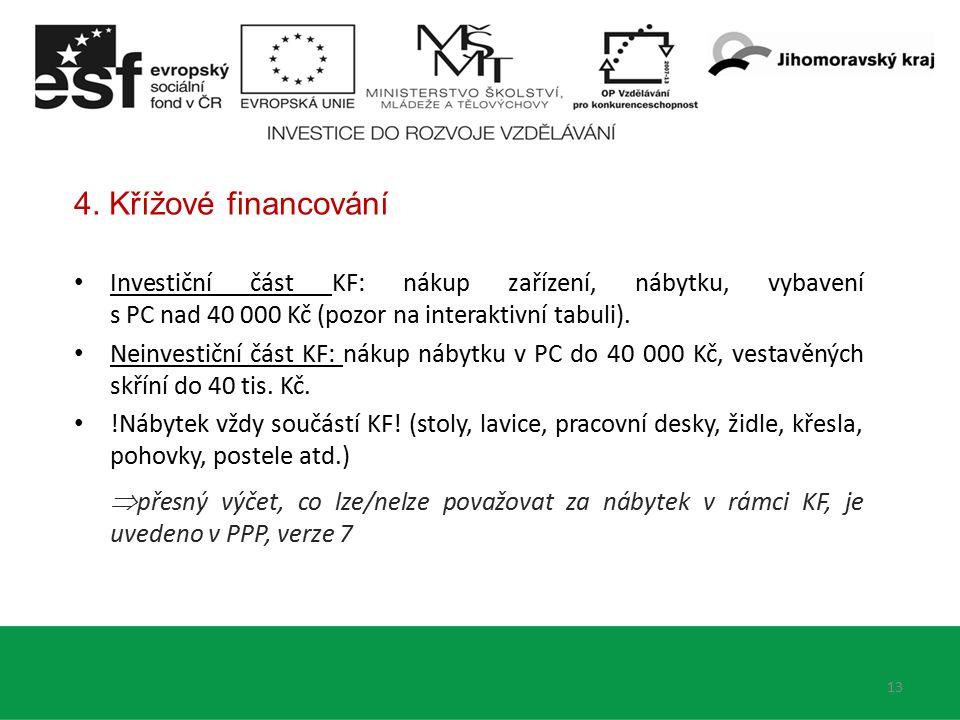 4. Křížové financování Investiční část KF: nákup zařízení, nábytku, vybavení s PC nad 40 000 Kč (pozor na interaktivní tabuli). Neinvestiční část KF: