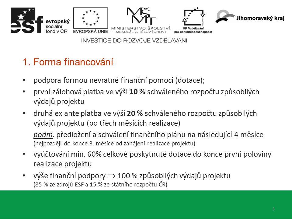 1. Forma financování podpora formou nevratné finanční pomoci (dotace); první zálohová platba ve výši 10 % schváleného rozpočtu způsobilých výdajů proj