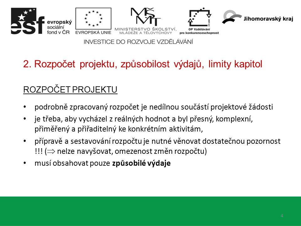 2. Rozpočet projektu, způsobilost výdajů, limity kapitol ROZPOČET PROJEKTU podrobně zpracovaný rozpočet je nedílnou součástí projektové žádosti je tře