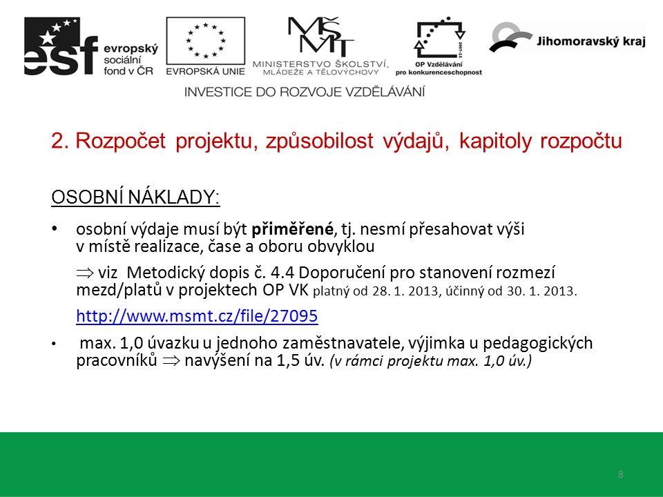 3.Kapitola 3 rozpočtu Zařízení a vybavení (max. 40 % CZV)  Metodický dopis č.