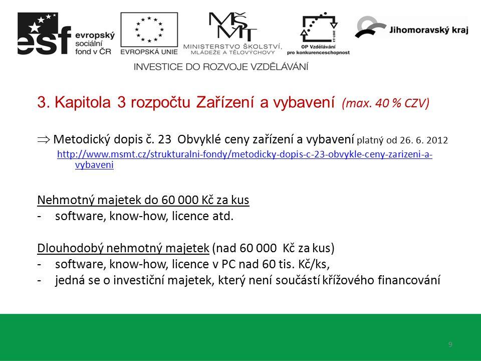 3. Kapitola 3 rozpočtu Zařízení a vybavení (max. 40 % CZV)  Metodický dopis č.