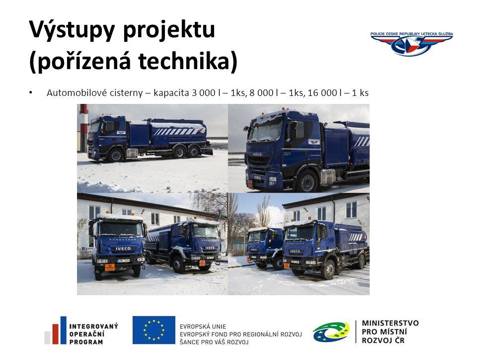 Výstupy projektu (pořízená technika) Automobilové cisterny – kapacita 3 000 l – 1ks, 8 000 l – 1ks, 16 000 l – 1 ks