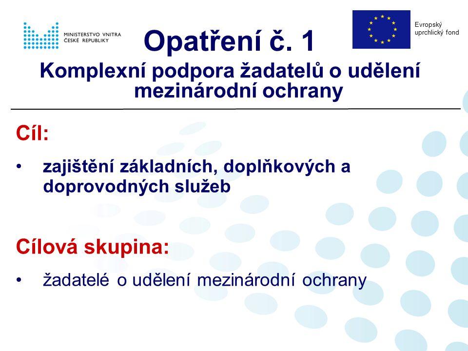Cíl: zajištění základních, doplňkových a doprovodných služeb Cílová skupina: žadatelé o udělení mezinárodní ochrany Opatření č. 1 Komplexní podpora ža
