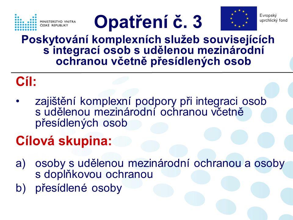 Opatření č. 3 Poskytování komplexních služeb souvisejících s integrací osob s udělenou mezinárodní ochranou včetně přesídlených osob Cíl: zajištění ko