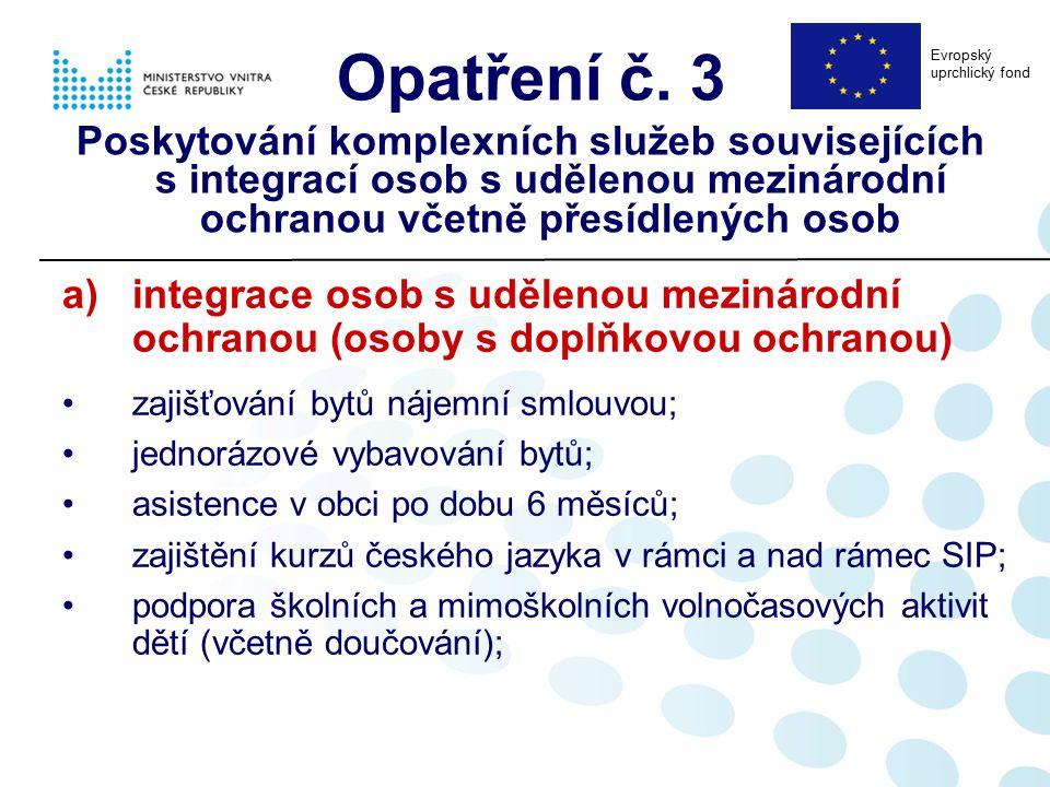 a)integrace osob s udělenou mezinárodní ochranou (osoby s doplňkovou ochranou) zajišťování bytů nájemní smlouvou; jednorázové vybavování bytů; asisten
