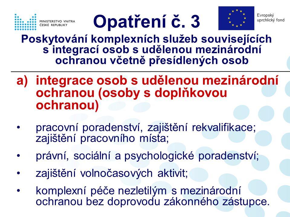 a)integrace osob s udělenou mezinárodní ochranou (osoby s doplňkovou ochranou) pracovní poradenství, zajištění rekvalifikace; zajištění pracovního mís