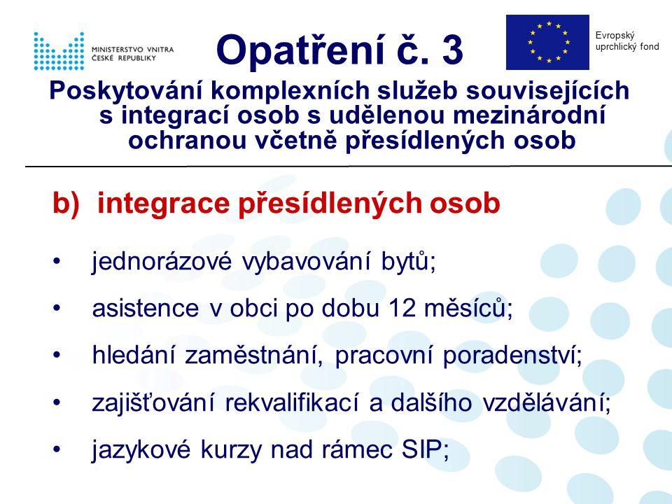 b) integrace přesídlených osob jednorázové vybavování bytů; asistence v obci po dobu 12 měsíců; hledání zaměstnání, pracovní poradenství; zajišťování rekvalifikací a dalšího vzdělávání; jazykové kurzy nad rámec SIP; Opatření č.