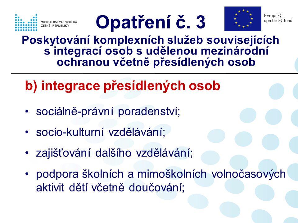 b) integrace přesídlených osob sociálně-právní poradenství; socio-kulturní vzdělávání; zajišťování dalšího vzdělávání; podpora školních a mimoškolních