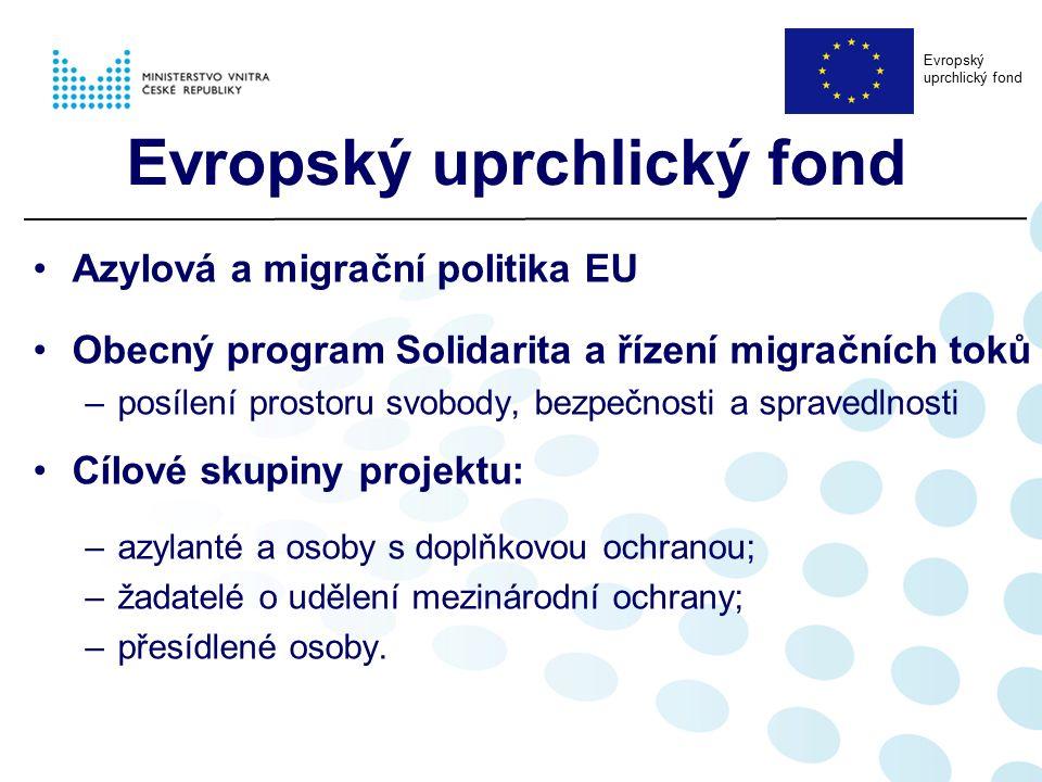 Azylová a migrační politika EU Obecný program Solidarita a řízení migračních toků –posílení prostoru svobody, bezpečnosti a spravedlnosti Cílové skupiny projektu: –azylanté a osoby s doplňkovou ochranou; –žadatelé o udělení mezinárodní ochrany; –přesídlené osoby.
