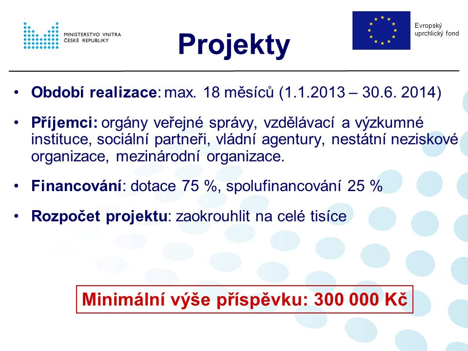 Projekty Období realizace: max. 18 měsíců (1.1.2013 – 30.6. 2014) Příjemci: orgány veřejné správy, vzdělávací a výzkumné instituce, sociální partneři,
