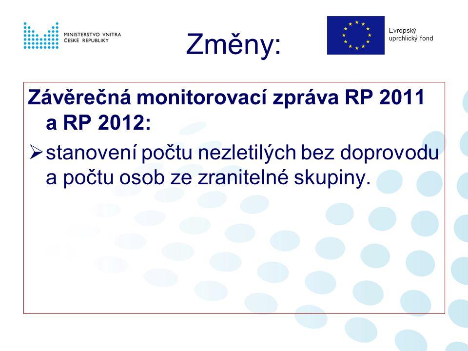 Změny: Závěrečná monitorovací zpráva RP 2011 a RP 2012:  stanovení počtu nezletilých bez doprovodu a počtu osob ze zranitelné skupiny. Evropský uprch