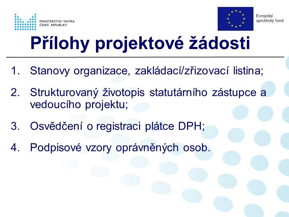 Přílohy projektové žádosti 1.Stanovy organizace, zakládací/zřizovací listina; 2.Strukturovaný životopis statutárního zástupce a vedoucího projektu; 3.Osvědčení o registraci plátce DPH; 4.Podpisové vzory oprávněných osob.