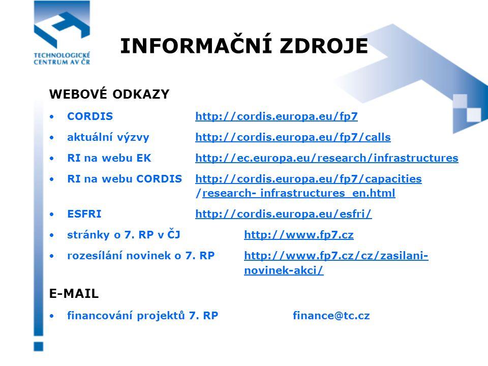 INFORMAČNÍ ZDROJE WEBOVÉ ODKAZY CORDIShttp://cordis.europa.eu/fp7 aktuální výzvyhttp://cordis.europa.eu/fp7/calls RI na webu EKhttp://ec.europa.eu/research/infrastructures RI na webu CORDIS http://cordis.europa.eu/fp7/capacities /research- infrastructures_en.html ESFRIhttp://cordis.europa.eu/esfri/ stránky o 7.