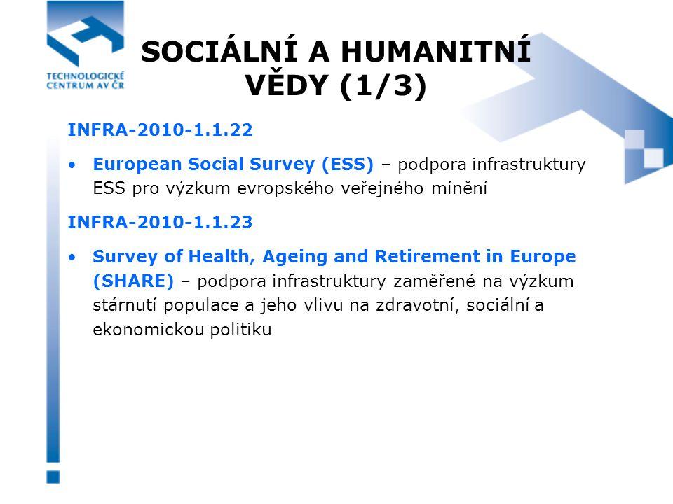 SOCIÁLNÍ A HUMANITNÍ VĚDY (1/3) INFRA-2010-1.1.22 European Social Survey (ESS) – podpora infrastruktury ESS pro výzkum evropského veřejného mínění INFRA-2010-1.1.23 Survey of Health, Ageing and Retirement in Europe (SHARE) – podpora infrastruktury zaměřené na výzkum stárnutí populace a jeho vlivu na zdravotní, sociální a ekonomickou politiku