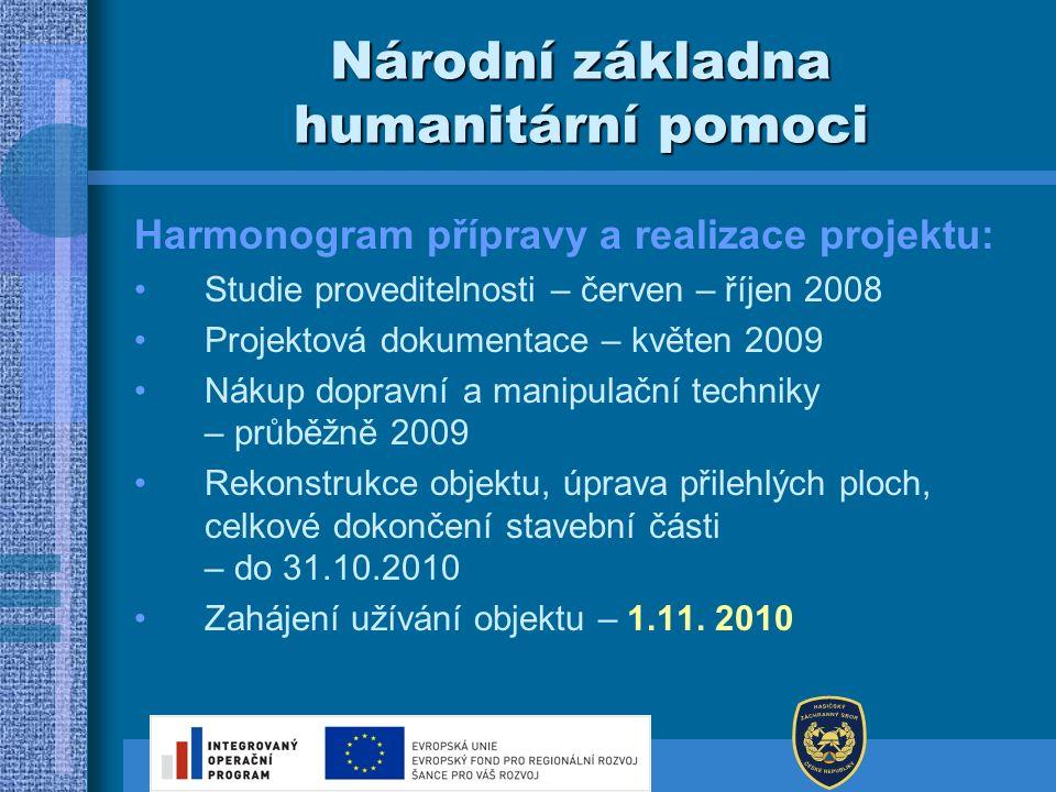 Národní základna humanitární pomoci Harmonogram přípravy a realizace projektu: Studie proveditelnosti – červen – říjen 2008 Projektová dokumentace – k