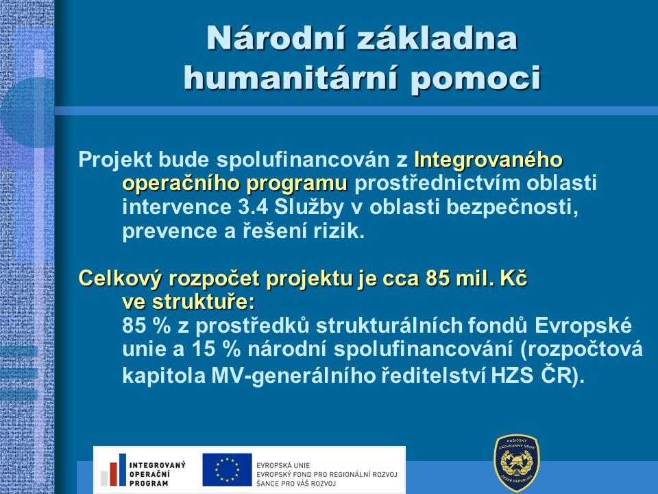 Národní základna humanitární pomoci Integrovaného operačního programu Projekt bude spolufinancován z Integrovaného operačního programu prostřednictvím