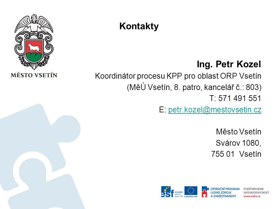 Kontakty Ing. Petr Kozel Koordinátor procesu KPP pro oblast ORP Vsetín (MěÚ Vsetín, 8. patro, kancelář č.: 803) T: 571 491 551 E: petr.kozel@mestovset