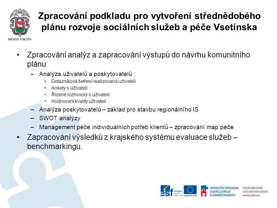 Zpracování podkladu pro vytvoření střednědobého plánu rozvoje sociálních služeb a péče Vsetínska Zpracování analýz a zapracování výstupů do návrhu kom