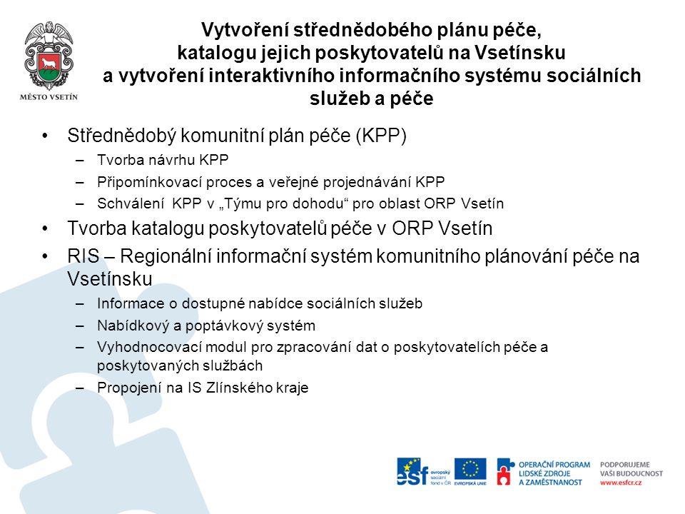 Vytvoření střednědobého plánu péče, katalogu jejich poskytovatelů na Vsetínsku a vytvoření interaktivního informačního systému sociálních služeb a péč