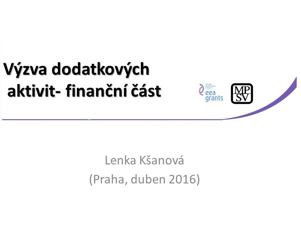 Lenka Kšanová (Praha, duben 2016) Výzva dodatkových aktivit- finanční část