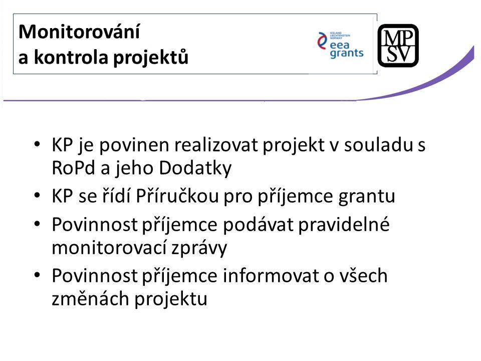 KP je povinen realizovat projekt v souladu s RoPd a jeho Dodatky KP se řídí Příručkou pro příjemce grantu Povinnost příjemce podávat pravidelné monito