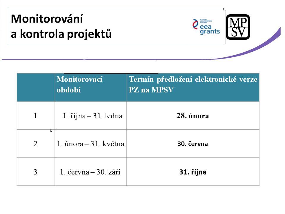 Monitorovací období Termín předložení elektronické verze PZ na MPSV 1 1. října – 31. ledna28. února 21. února – 31. května 30. června 3 1. června – 30