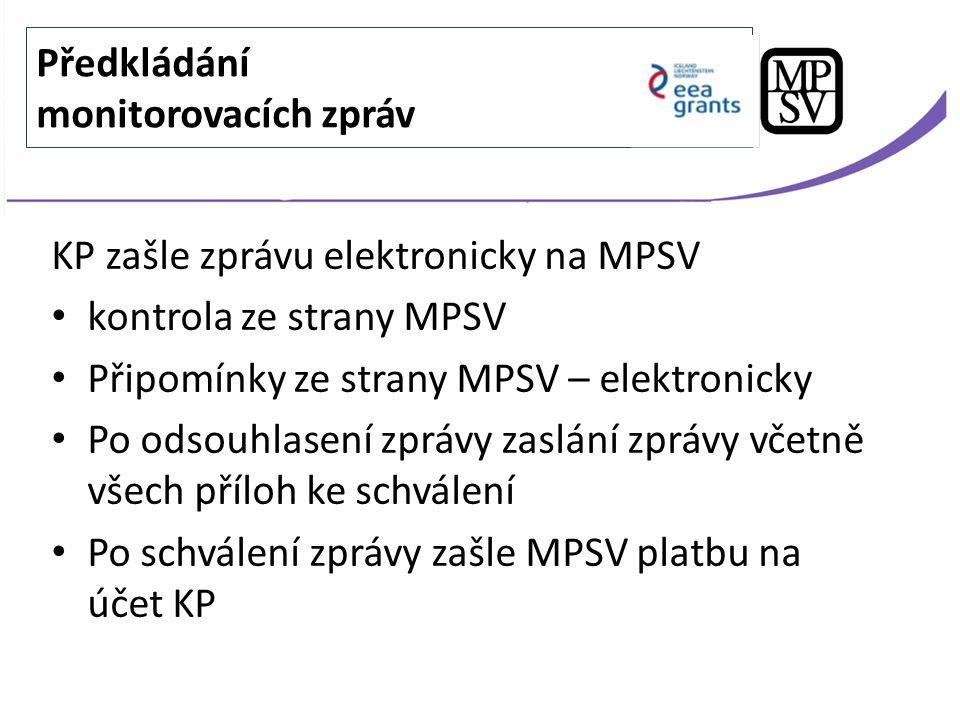 KP zašle zprávu elektronicky na MPSV kontrola ze strany MPSV Připomínky ze strany MPSV – elektronicky Po odsouhlasení zprávy zaslání zprávy včetně vše