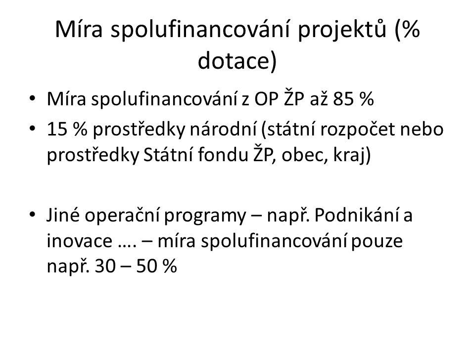 Míra spolufinancování projektů (% dotace) Míra spolufinancování z OP ŽP až 85 % 15 % prostředky národní (státní rozpočet nebo prostředky Státní fondu ŽP, obec, kraj) Jiné operační programy – např.