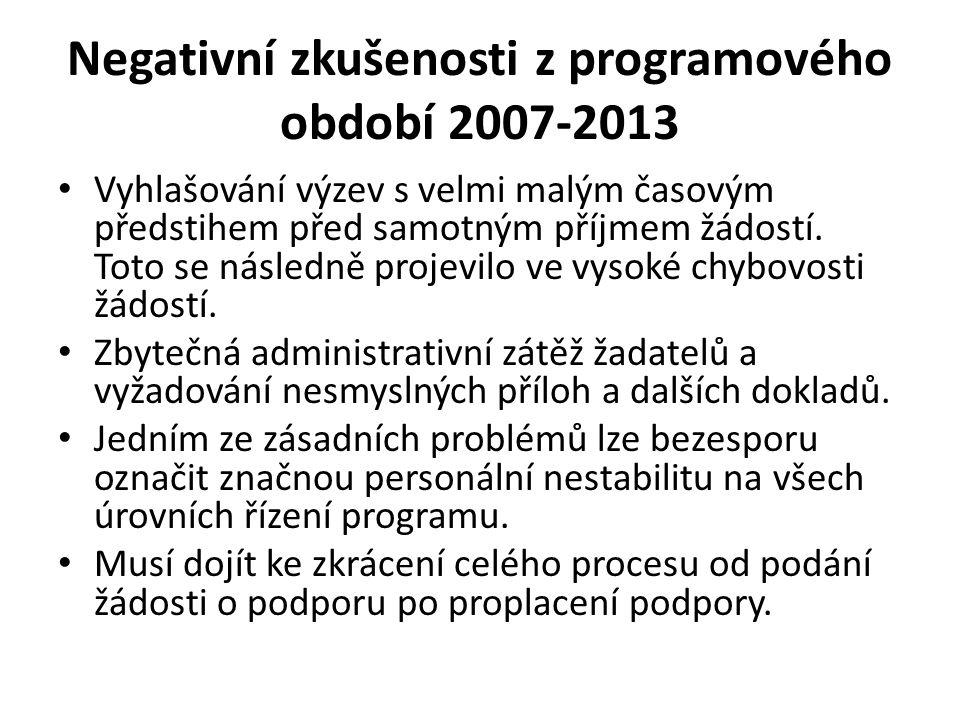 Negativní zkušenosti z programového období 2007-2013 Vyhlašování výzev s velmi malým časovým předstihem před samotným příjmem žádostí.