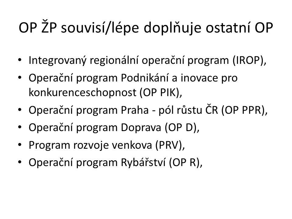 OP ŽP souvisí/lépe doplňuje ostatní OP Integrovaný regionální operační program (IROP), Operační program Podnikání a inovace pro konkurenceschopnost (OP PIK), Operační program Praha - pól růstu ČR (OP PPR), Operační program Doprava (OP D), Program rozvoje venkova (PRV), Operační program Rybářství (OP R),